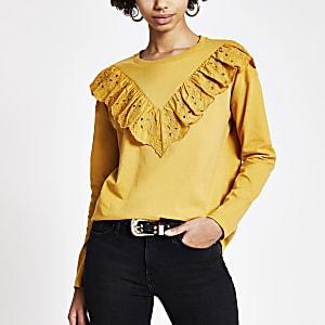 T-shirt jaune à manches longues avec volant en broderie anglaise