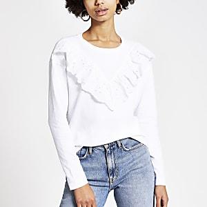 T-shirt blanc à manches longues avec volant en broderie anglaise