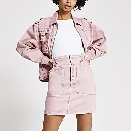 Pink acid wash drawstring denim mini skirt