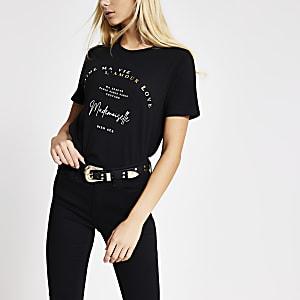 Zwart T-shirt met 'Madamoiselle'-print