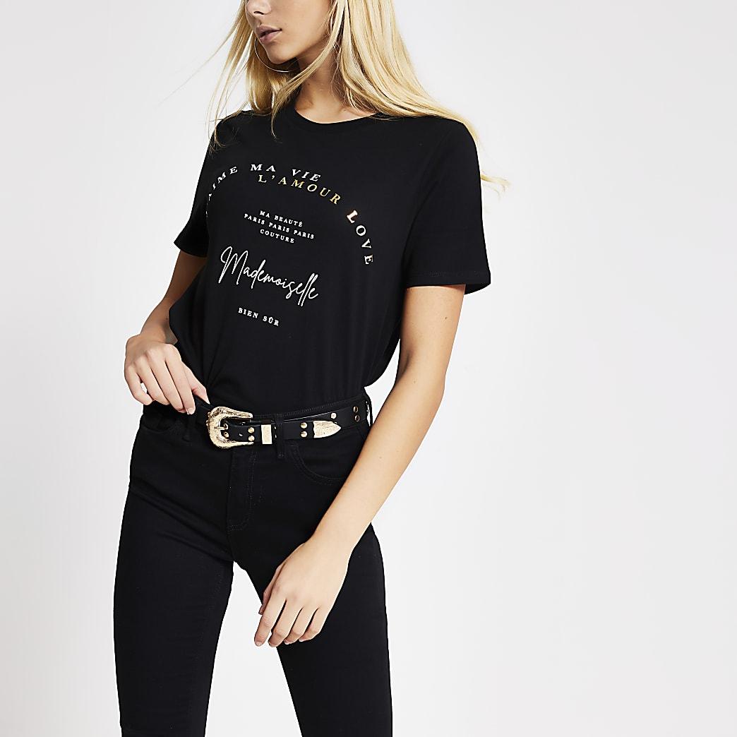 T-shirt noir imprimé« Madamoiselle »