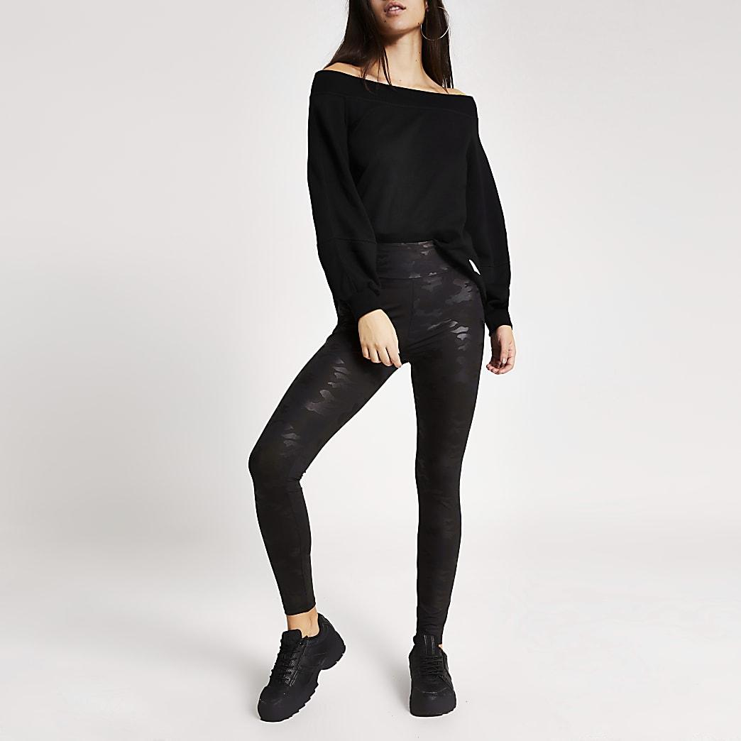 Zwarte high waisted legging met camouflage coating