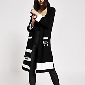 Zwarte gebreide lange dusterjas met RVR-print