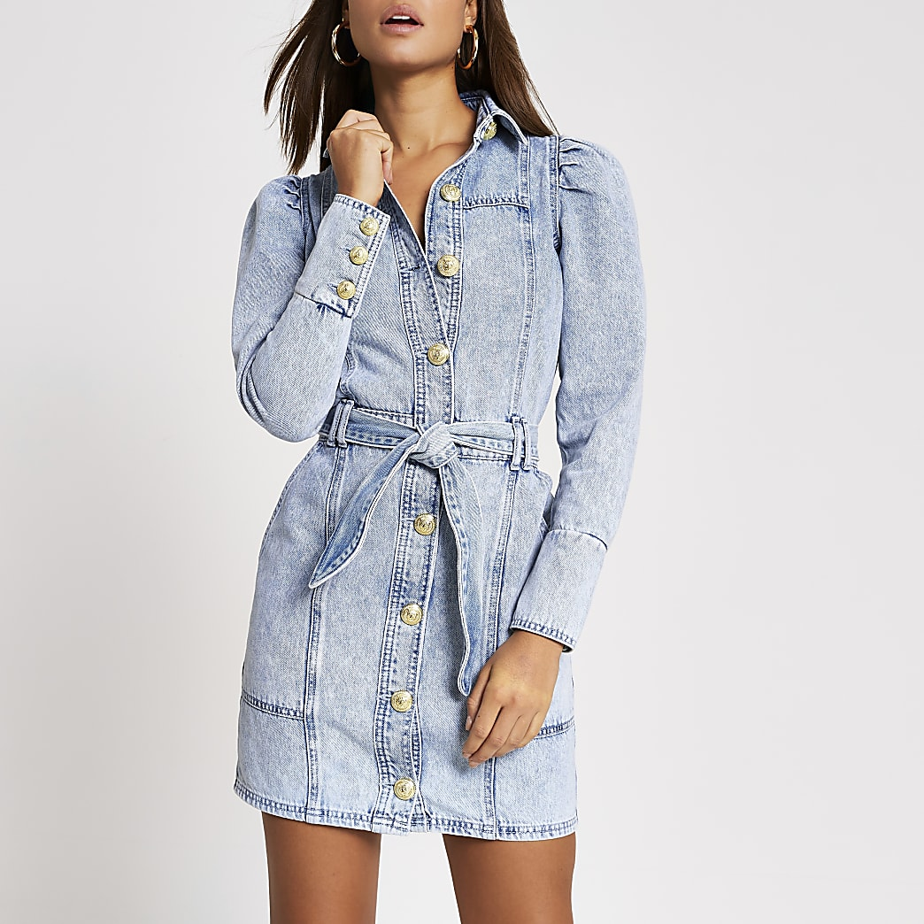 Light blue puff sleeve denim shirt mini dress