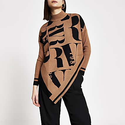 Brown RI printed knitted cape jumper