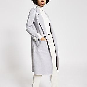 Veste longue en maille grise avecmanchesà revers