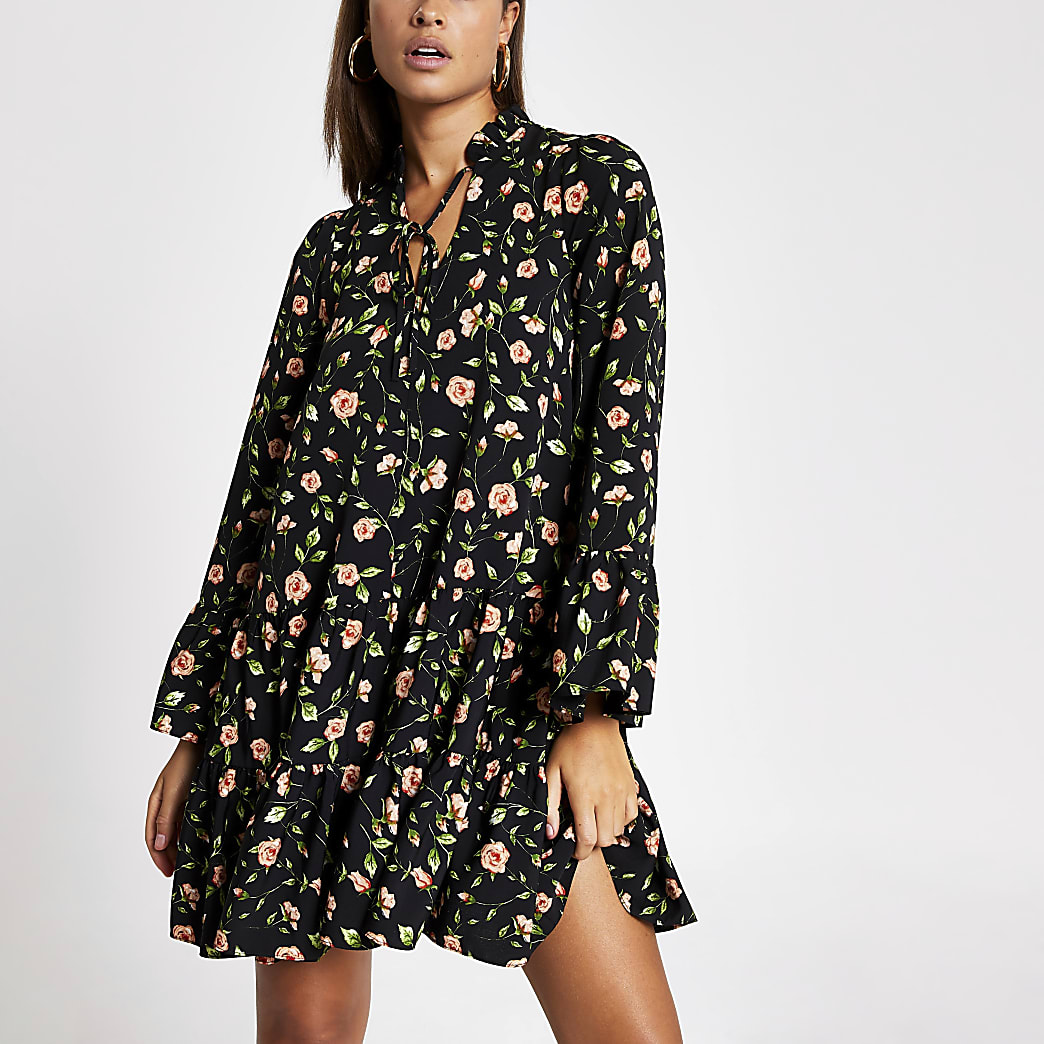 Black rose printed smock mini dress