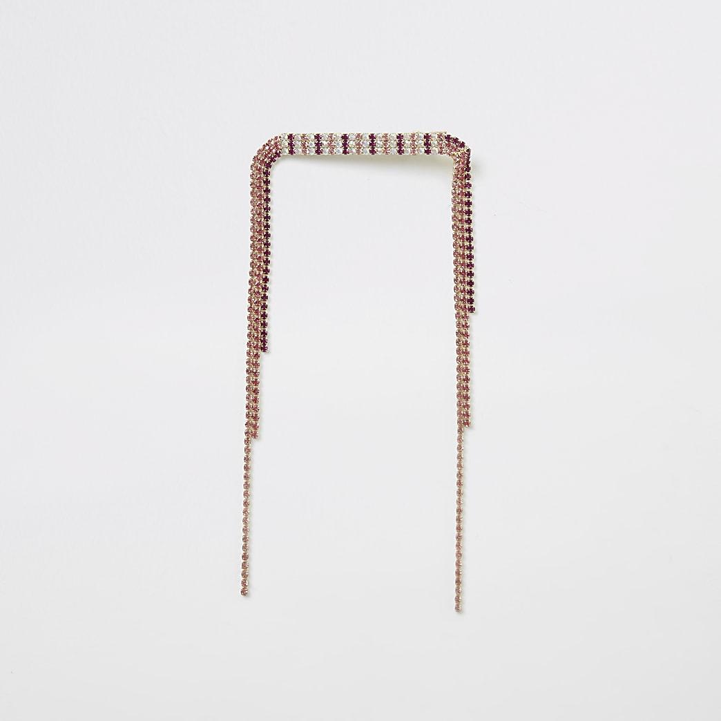 Goudkleurige en roze haarspeld met kwastjes met siersteentjes
