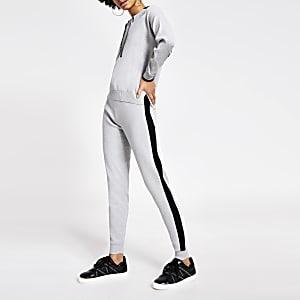 Grijze joggingbroek met kleurvlakken en verfraaide strik