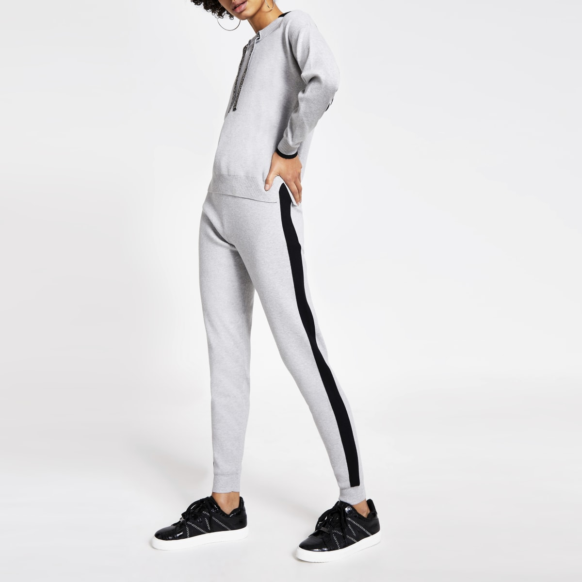 Grey colour block embellished tie joggers
