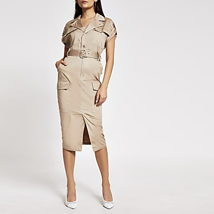 Beige utility belted midi dress