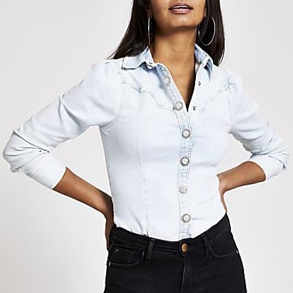 Light denim puff sleeve denim shirt
