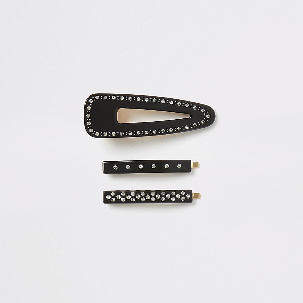 Set van 3 zwarte haarspelden met siersteentjes