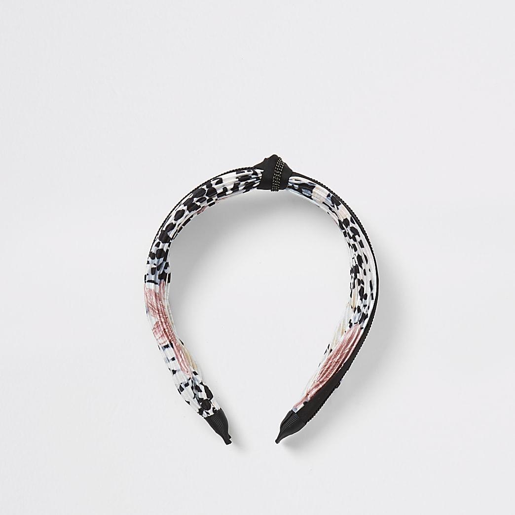 Zwarte plissé haarband met knoop en print