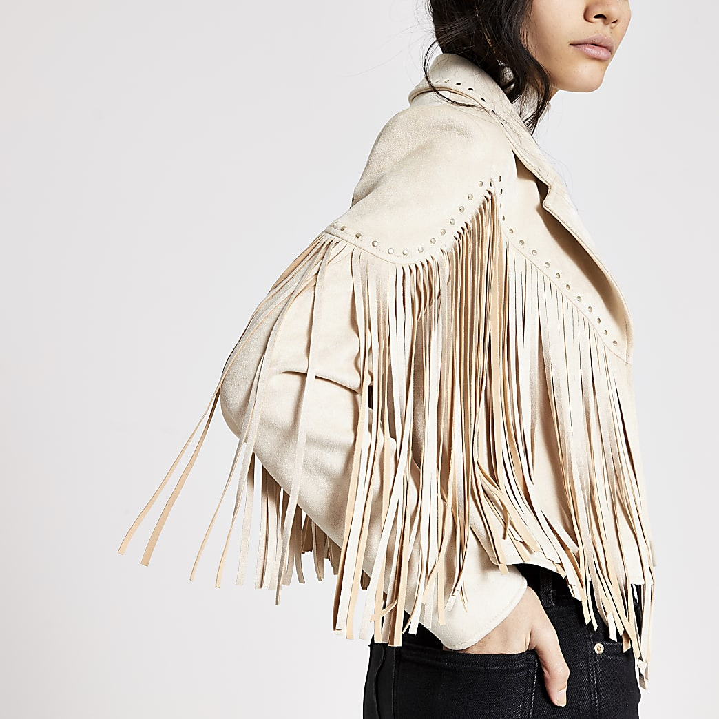 Cream suedette fringe studded jacket