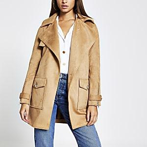 Braune Jacke aus Wildlederimitat mit Fronttaschen