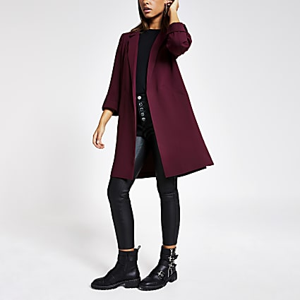 Red turn up sleeve duster jacket