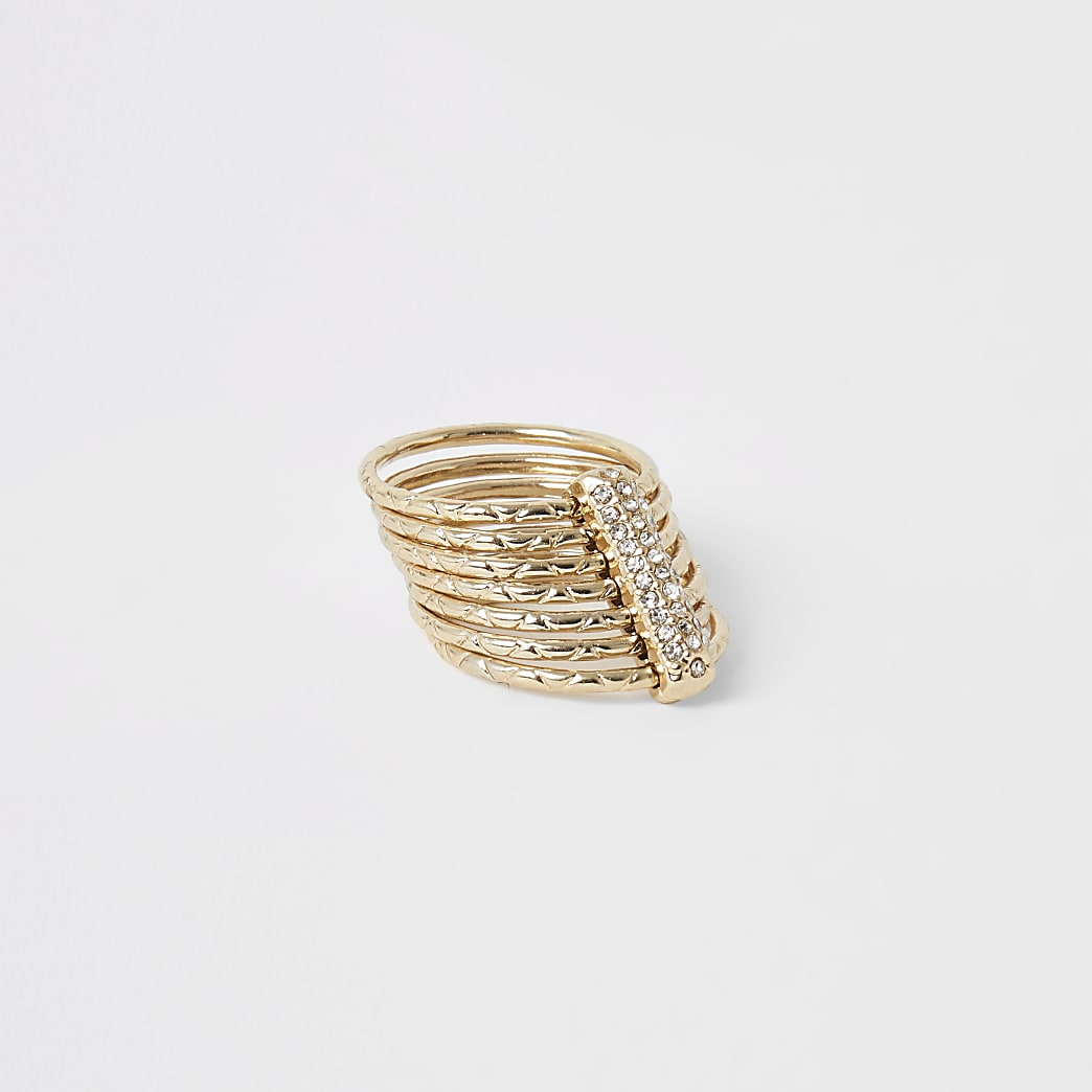 Gold colour layered diamante ring