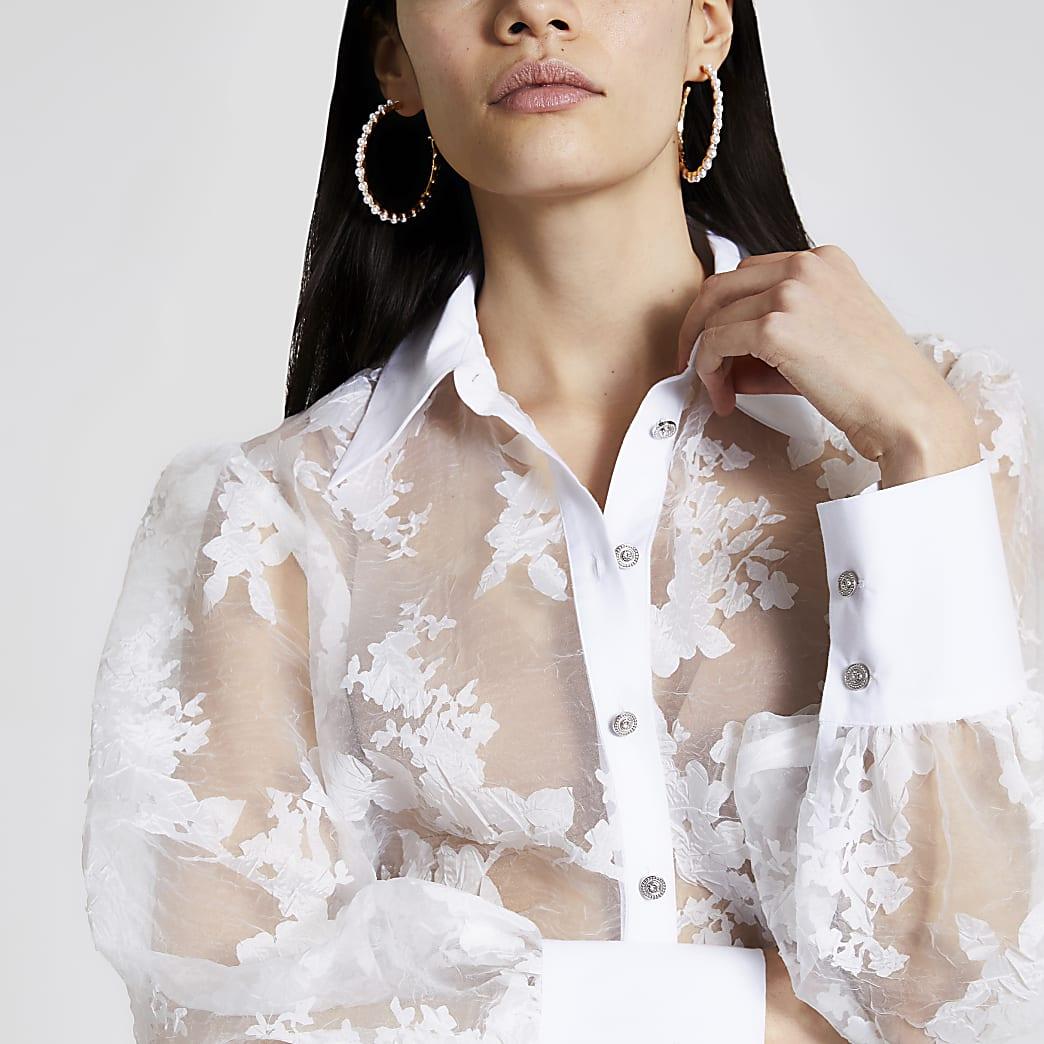 Wit organza overhemd met print en lange mouwen