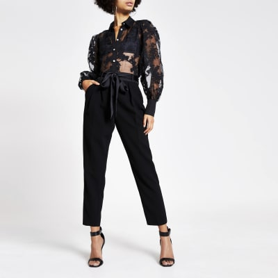 Black printed organza long sleeve shirt