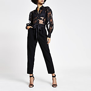 Schwarze, bedruckte Bluse aus Organza mit langen Ärmeln