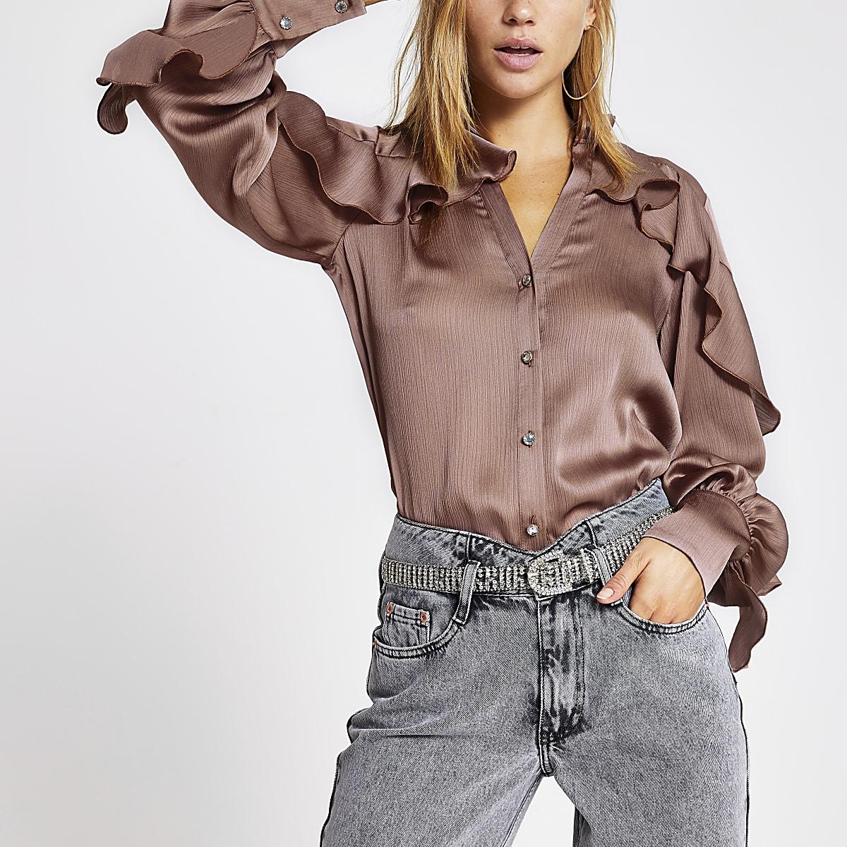 Dark pink long sleeve frill shirt