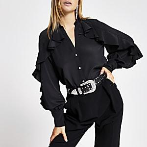 Schwarzes, langärmeliges Rüschenhemd