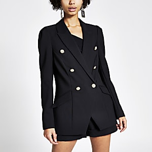 Zwarte double-breasted blazer met pofmouwen
