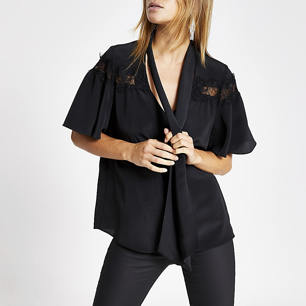 Black lace tie neck short sleeve blouse