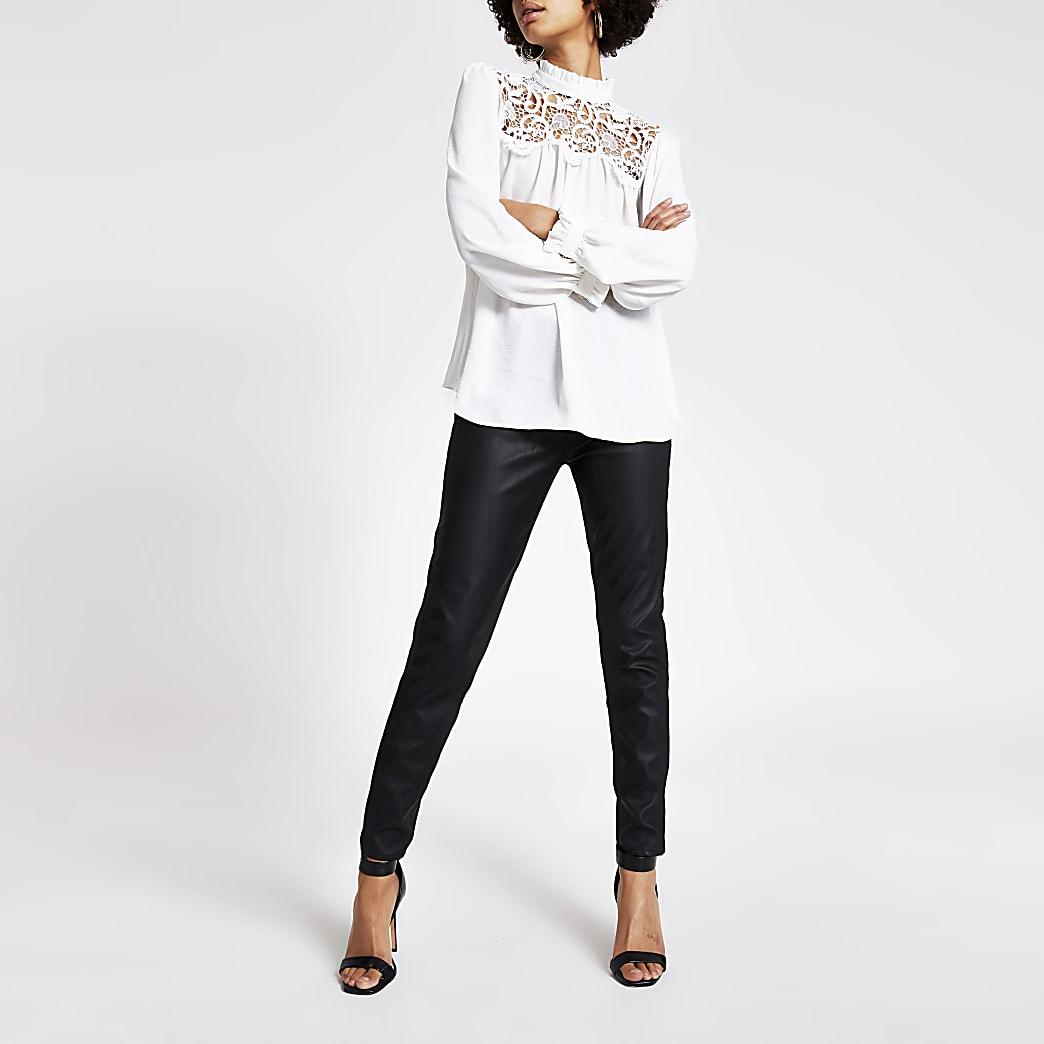 White lace frill neck blouse