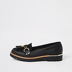 Zwartestevige loafers met kwastje voor
