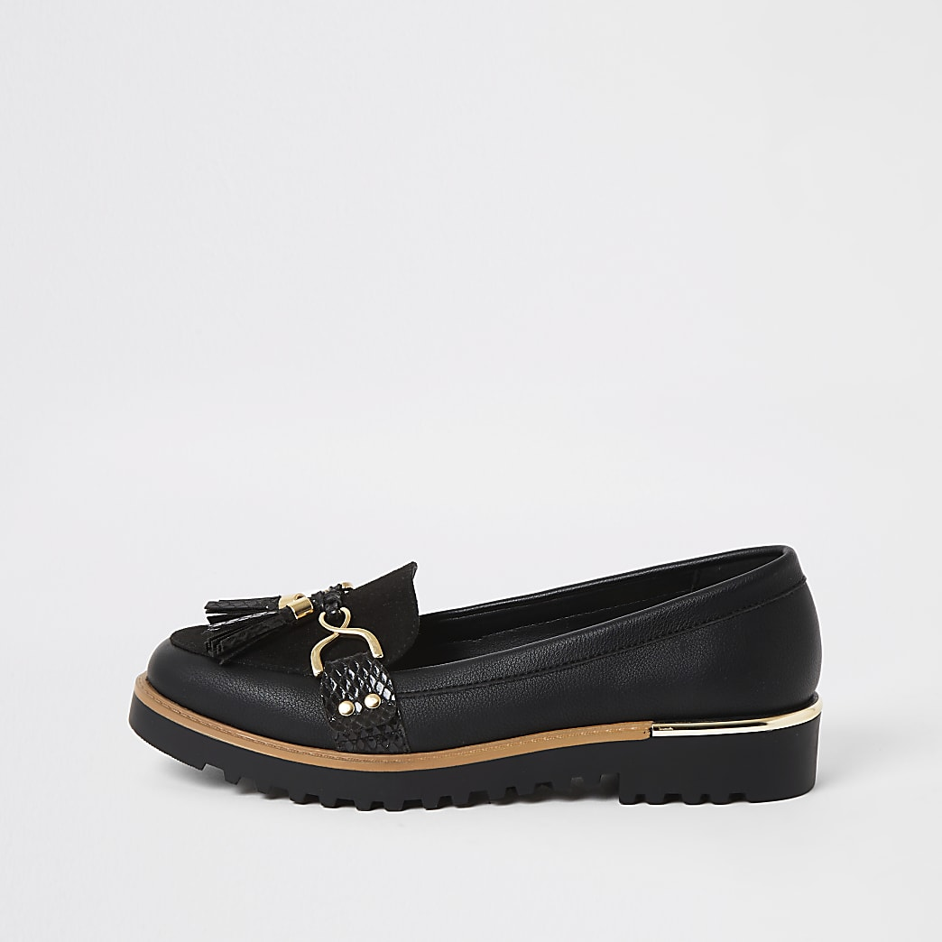 Black tassel front chunky loafers
