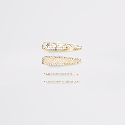 Gold embellished hair clip 4 pack