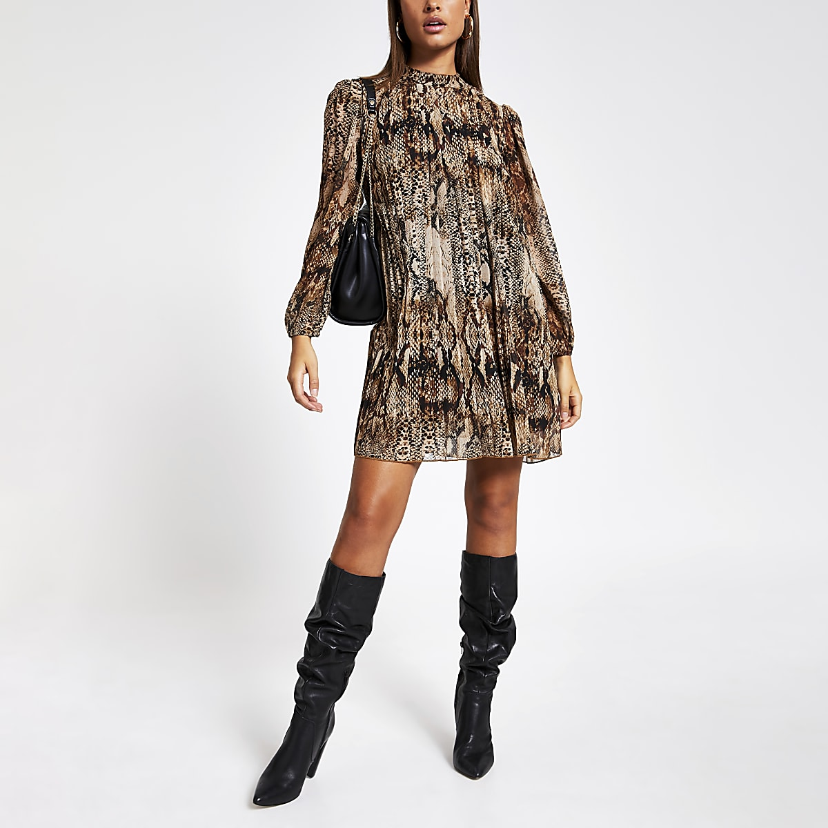 Brown snake printed pleated swing dress