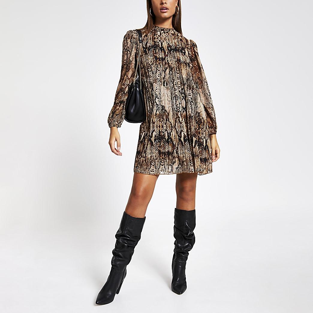 Brown snake printed pleated swing dress