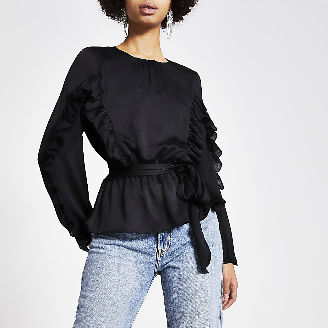 Black long sleeve tie belted frill blouse