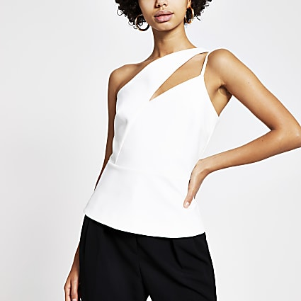 White one cut out shoulder fitted top