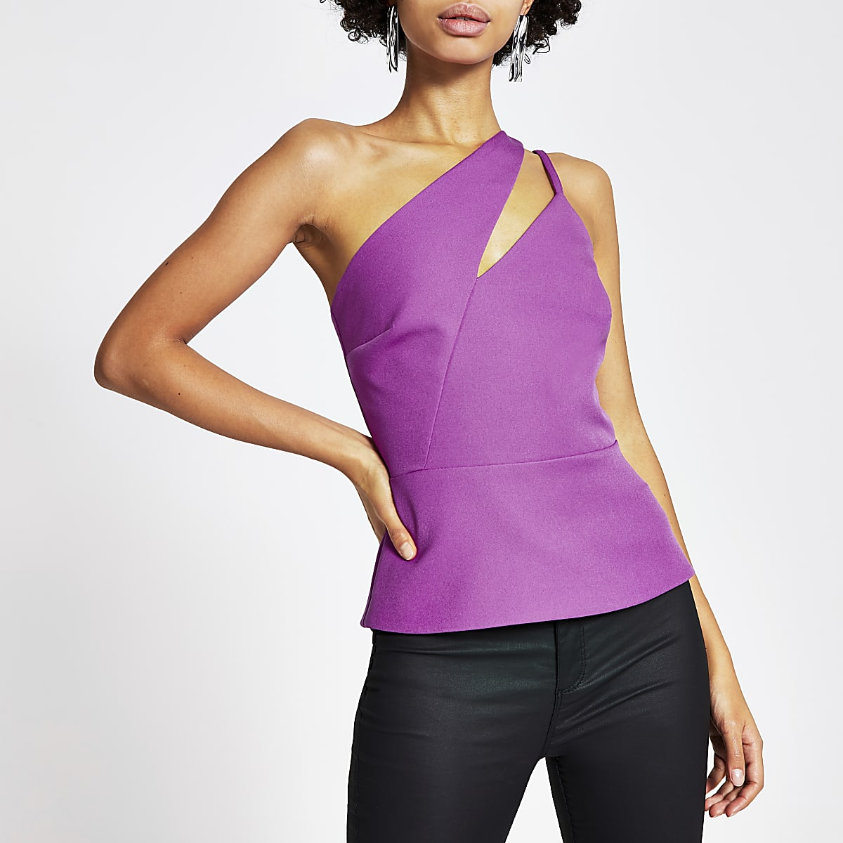 Purple one cut out shoulder fitted top
