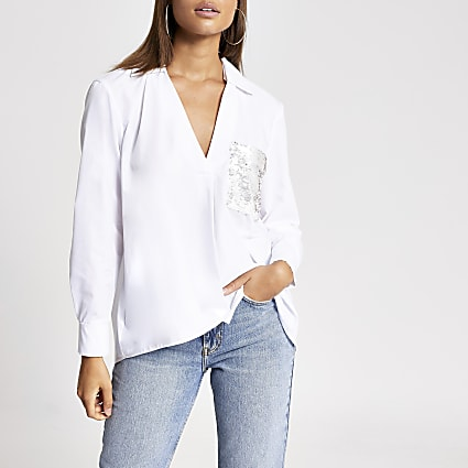 White sequin pocket long sleeve shirt