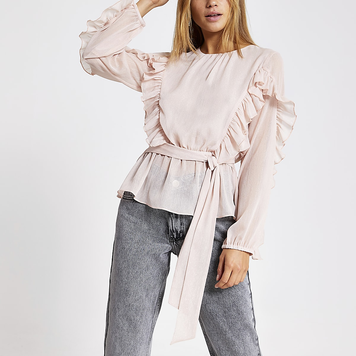 Pink long sleeve tie belted frill blouse
