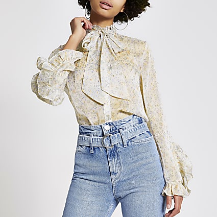 Cream floral tie neck frill shirt