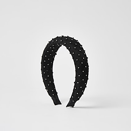 Black diamante mesh padded headband