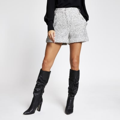 White boucle button front shorts