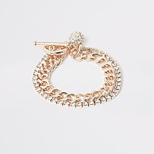 Roségoudkleurige geschakelde armband met siersteentjes