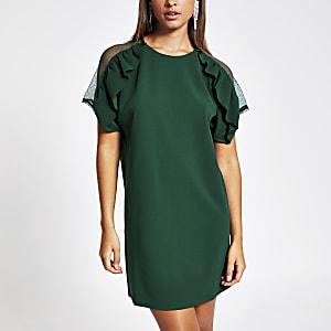 Dunkelgrünes, kurzärmeliges Kleid mit Rüschen und Spitze