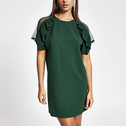 Dark green ruffle lace short sleeve dress