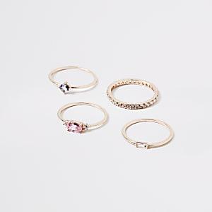 Lot de4 bagues or rose avec pierres fantaisie et strassà superposer