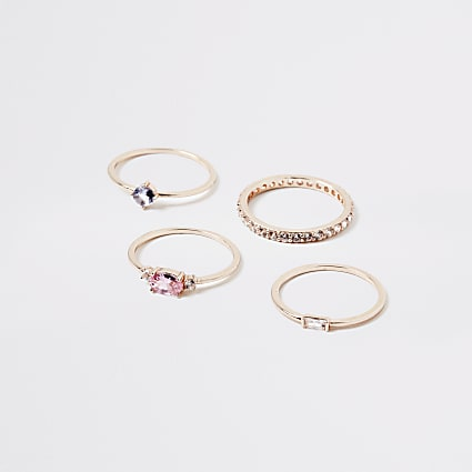 Rose gold jewel diamante layered ring 4 pack