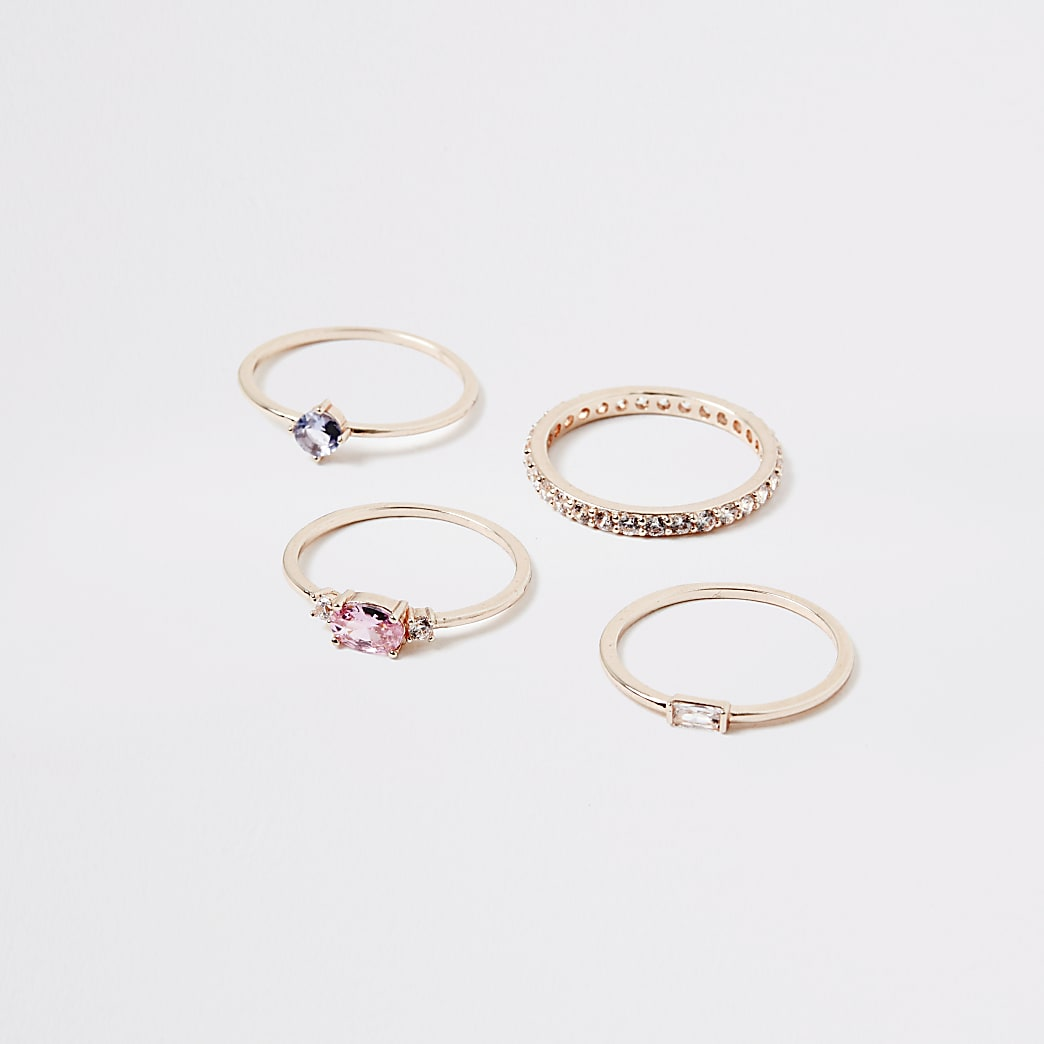Rose gold colour jewel layered ring 4 pack
