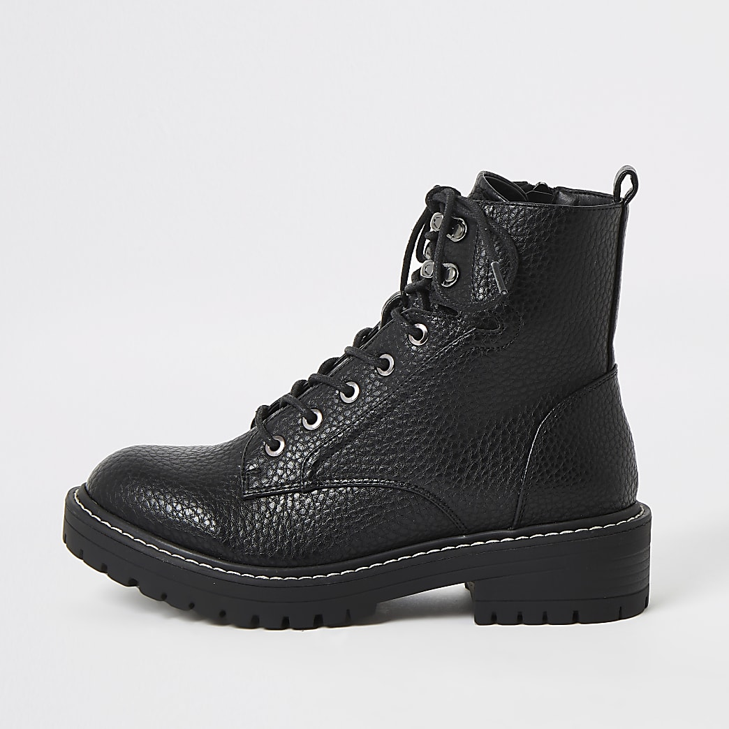 Black chunky wide fit lace-up hiking boots